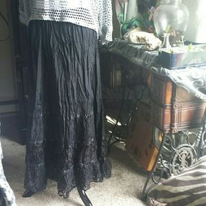Lace and Velvet Tiered Maxi Hippy Skirt XL